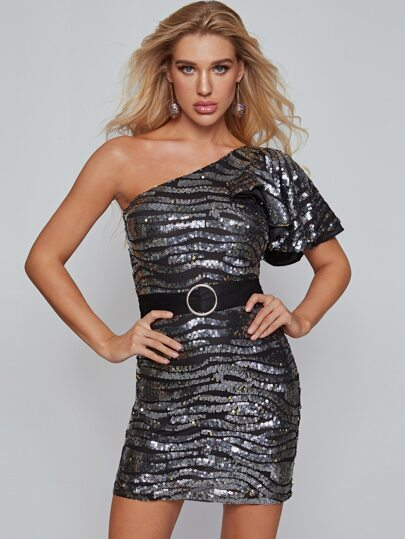 One Shoulder Belted Sequin Bodycon Dress