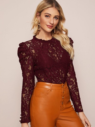Frill Neck Sheer Lace Blouse