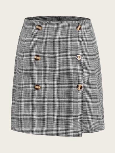 Houndstooth Print Button Front Skirt