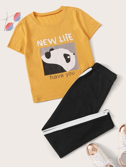 Cartoon & Letter Graphic Tee & Sweatpants