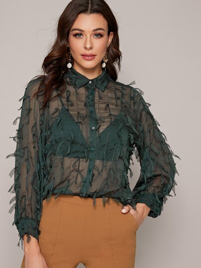 Curved Hem Sheer Button Up Blouse