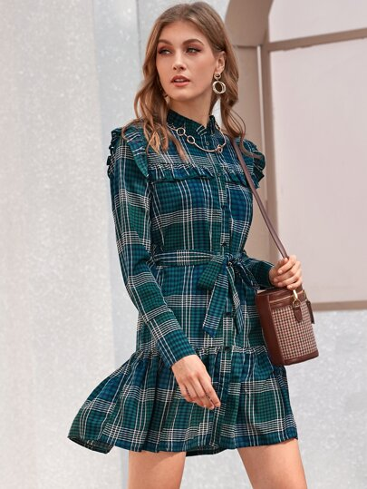 Button Front Ruffle Hem Plaid Belted Dress