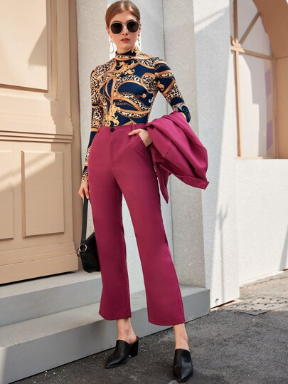 Button Front Flare Leg Pants