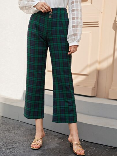 Button Front Tartan Print Straight Leg Pants