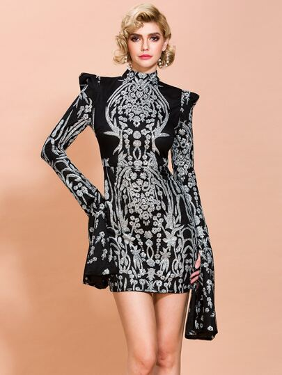 Missord Mock Neck Split Sleeve Damask Glitter Dress