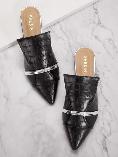 Croc Embossed Point Toe Flat Mules