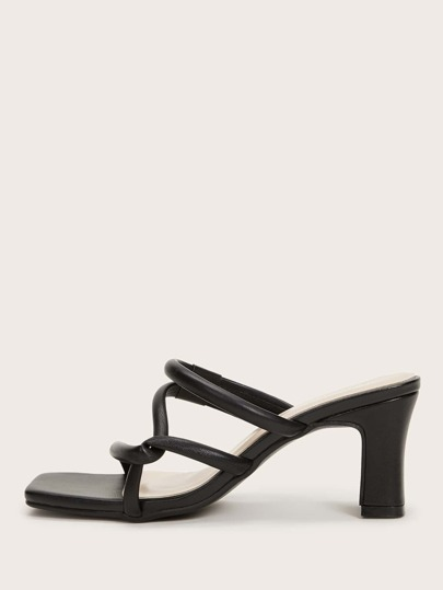 Strappy Chunky Heeled Mules