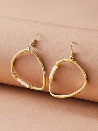 1pair Pearl Decor Hoop Earrings