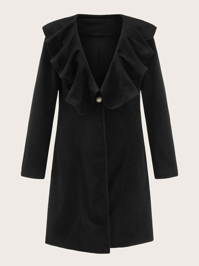 Ruffle Trim Single Button Overcoat