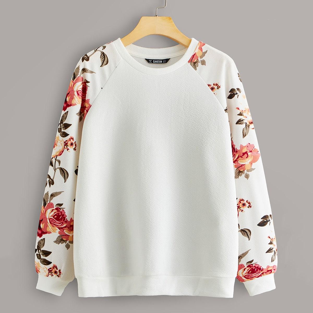 Пуловер с цветочным принтом и рукавом реглан