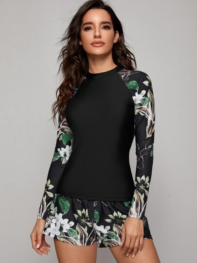 3pcs Floral Print Long Sleeve Co-ord Tankini