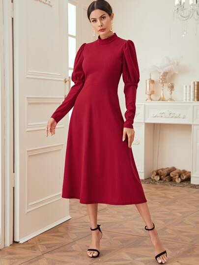 Mock Neck Puff Sleeve Solid Dress