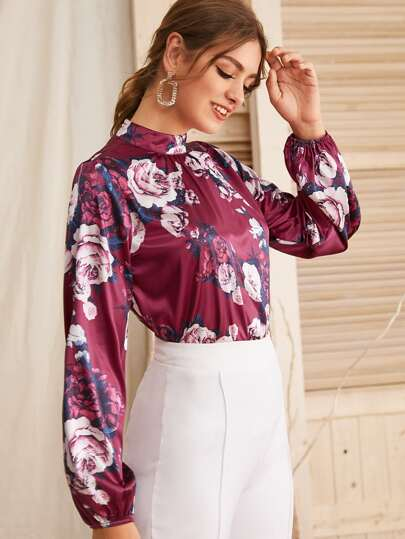 Mock Neck Floral Print Satin Blouse