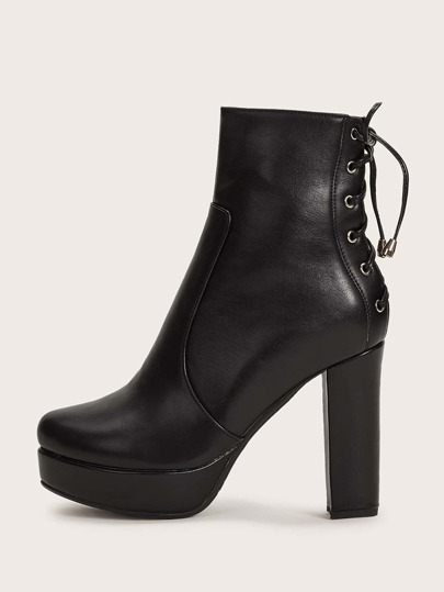 Lace-up Back Chunky Boots