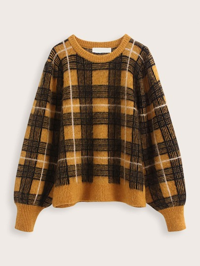 Balloon Sleeve Plaid Pattern Sweater