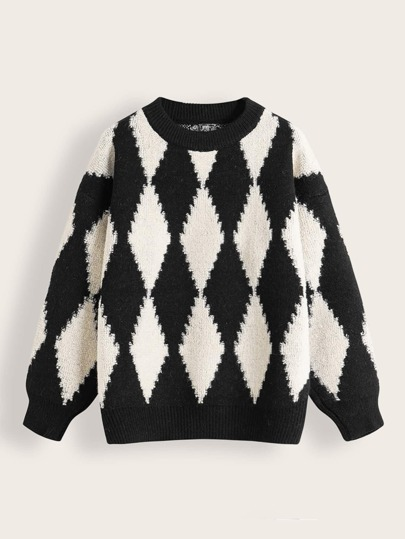 Color-block Rhombus Knit Boyfriend Sweater