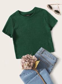 Green Rib-knit Crop Top - $4.95