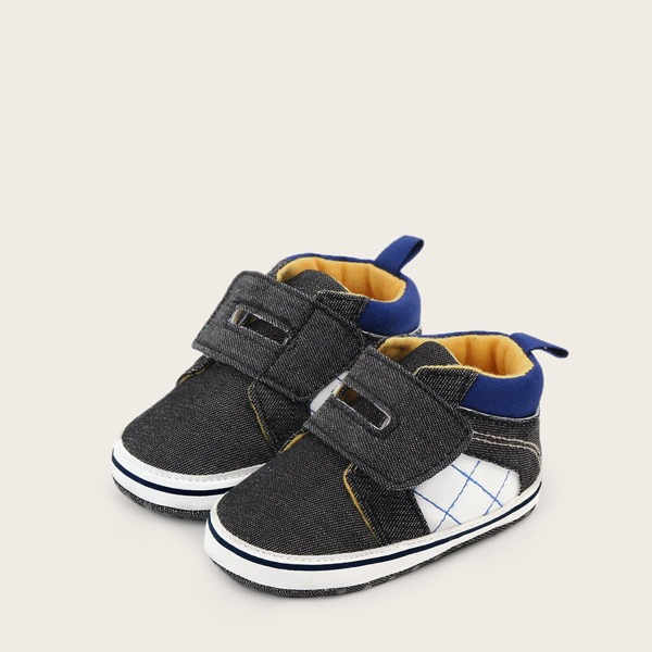 Baby Boy Stitch Detail Velcro Strap Sneakers, Grey