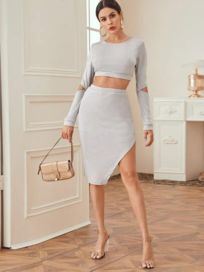 Cutout Crop Tee & Split Thigh Skirt Set
