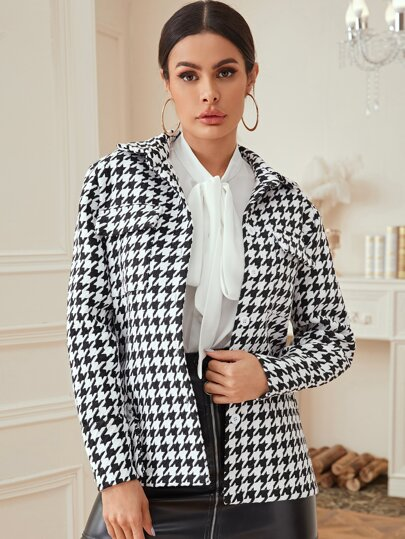 Button Front Houndstooth Print Tweed Coat