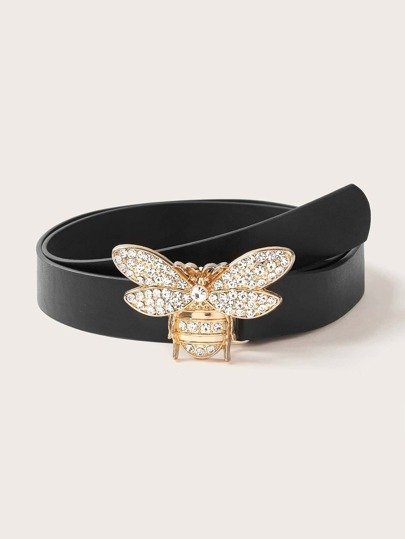 Rhinestone Engraved Bee Buckle Belt