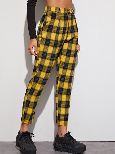 Button Front Pocket Side Tartan Tapered Pants