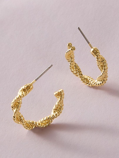 1pair Twist Cuff Hoop Earrings