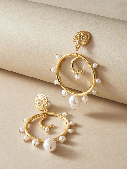 1pair Moon & Faux Pearl Charm Hoop Drop Earrings