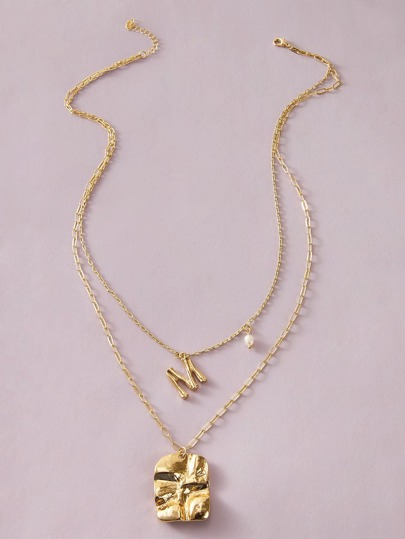 1pc Faux Pearl & Irregular Charm Layered Necklace