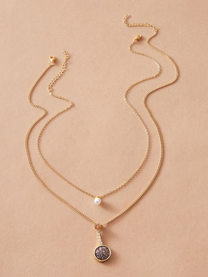 2pcs Faux Pearl & Round Charm Necklace