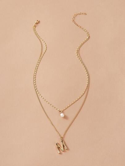 1pc Faux Pearl & Letter Charm Layered Necklace