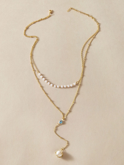 1pc Eye & Faux Pearl Charm Layered Necklace