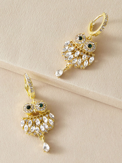 1pair Rhinestone Engraved Owl Ear Cuff