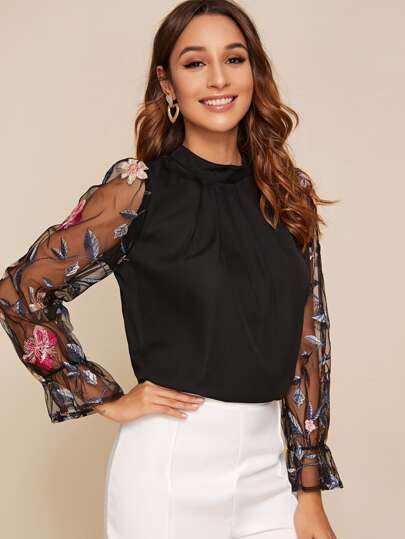 Contrast Mesh Floral Embroidered Blouse