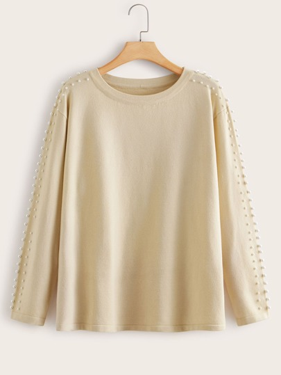 Plus Pearls Detail Drop Shoulder Sweater