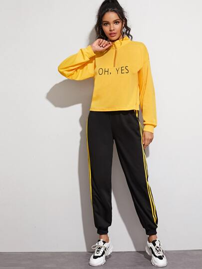 Half Zip Letter Graphic Tee & Striped Side Sweatpants