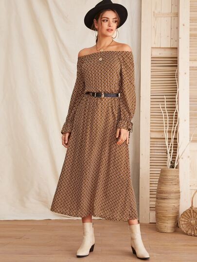 Geo Print Off Shoulder Knot Cuff Dress Without Belt