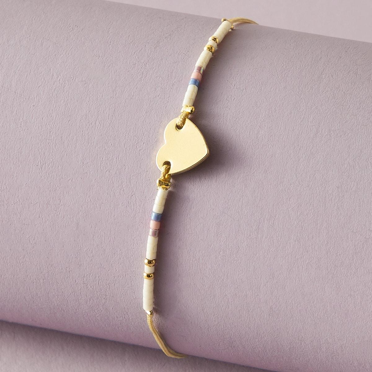 Ножной браслет с бусами и декором сердечка 1шт от SHEIN
