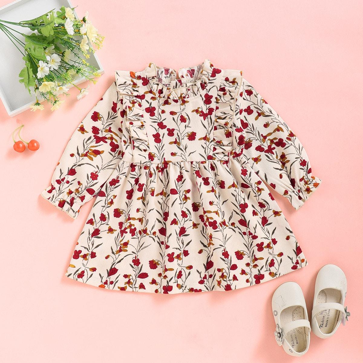 Вельветовое платье с цветочным принтом и оборками для девочек от SHEIN