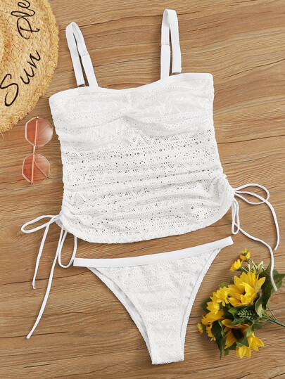 Floral Lace Tie Side Top With Tanga Tankini