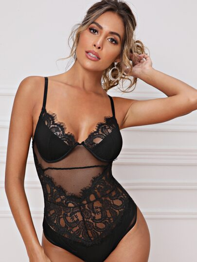 Eyelash Lace Sheer Mesh Bodysuit