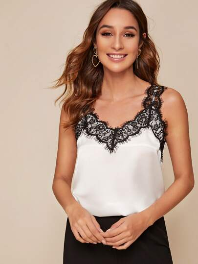Contrast Lace Satin Cami Top