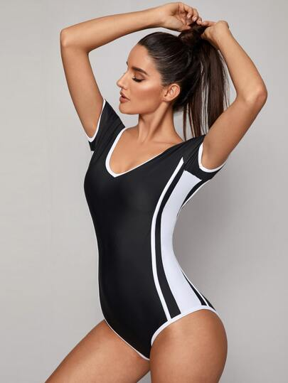 Colorblock Short Sleeve One Piece Swimsuit