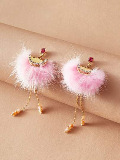 1pair Fluffy & Tassel Chain Drop Earrings