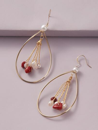 1pair  Pearl Decor Waterdrop Earrings