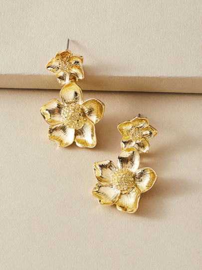 1pair Metallic Flower Drop Earrings