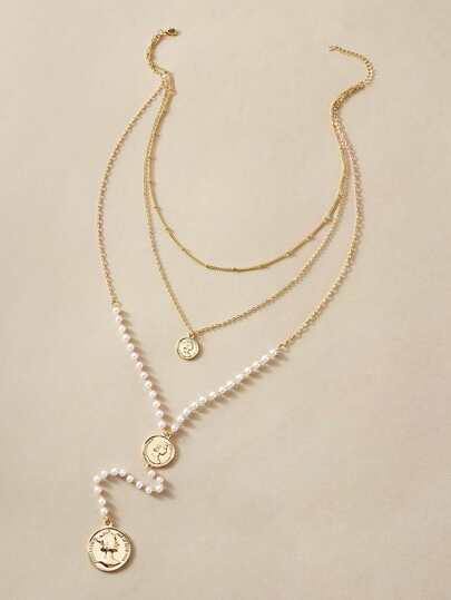 1pc Coin Charm Faux Pearl Decor Layered Lariat Necklace