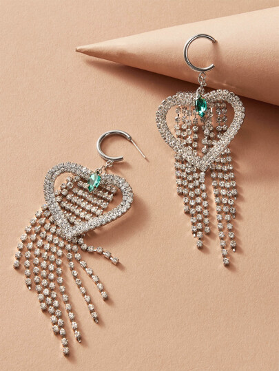 1pair Rhinestone Engraved Heart & Tassel Drop Earrings