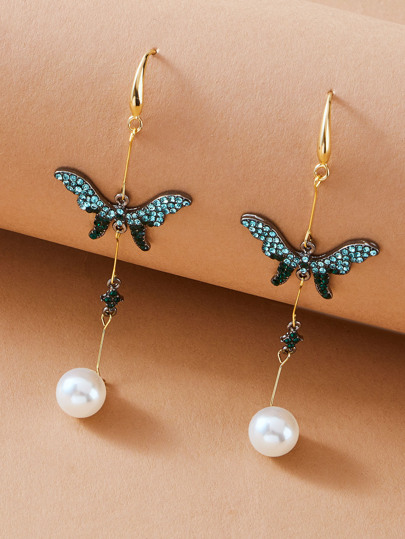 1pair Rhinestone Engraved Butterfly & Faux Pearl Drop Earrings