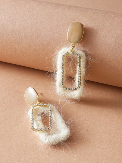 1pair Rhinestone Engraved & Fluffy Geometric Drop Earrings
